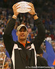 photo by Tim Casey<br /> <br /> Florida redshirt junior wide receiver David Nelson holds the crystal football from the Coaches' Trophy during halftime of the Gators' 80-65 win against the Arkansas Razorback on on Saturday, January 17, 2009 at the Stephen C. O'Connell Center in Gainesville, Fla.