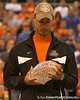 photo by Tim Casey<br /> <br /> Florida redshirt junior wide receiver David Nelson looks at the crystal football from the Coaches' Trophy during halftime of the Gators' 80-65 win against the Arkansas Razorback on on Saturday, January 17, 2009 at the Stephen C. O'Connell Center in Gainesville, Fla.