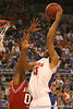 photo by Tim Casey<br /> <br /> Florida sophomore forward Alex Tyus attempts a hook shot during first half of the Gators' 80-65 win against the Arkansas Razorback on Saturday, January 17, 2009 at the Stephen C. O'Connell Center in Gainesville, Fla.