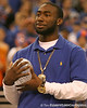photo by Tim Casey<br /> <br /> Florida redshirt freshman running back Chris Rainey holds the crystal football from the Coaches' Trophy during halftime of the Gators' 80-65 win against the Arkansas Razorback on on Saturday, January 17, 2009 at the Stephen C. O'Connell Center in Gainesville, Fla.