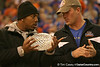 photo by Tim Casey<br /> <br /> Florida junior running back Kestahn Moore holds the crystal football from the Coaches' Trophy during halftime of the Gators' 80-65 win against the Arkansas Razorback on on Saturday, January 17, 2009 at the Stephen C. O'Connell Center in Gainesville, Fla.
