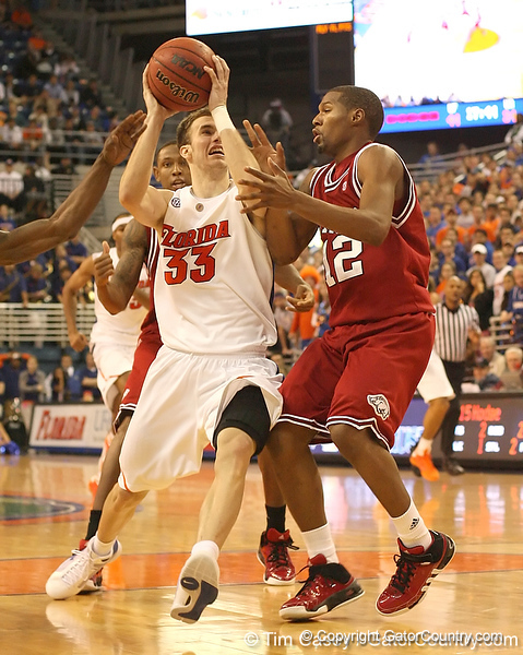 photo by Tim Casey<br /> <br /> Florida sophomore guard/forward Nick Calathes drives the lane during the Gators' 80-65 win against the Arkansas Razorback on on Saturday, January 17, 2009 at the Stephen C. O'Connell Center in Gainesville, Fla.