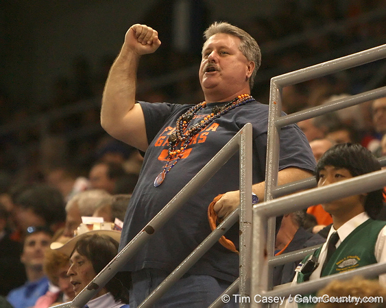 photo by Tim Casey<br /> <br /> A Florida fan cheers during first half of the Gators' 80-65 win against the Arkansas Razorbacks on Saturday, January 17, 2009 at the Stephen C. O'Connell Center in Gainesville, Fla.