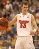 photo by Tim Casey<br /> <br /> Florida sophomore guard/forward Nick Calathes brings the ball past midcourt during the Gators' 80-65 win against the Arkansas Razorback on on Saturday, January 17, 2009 at the Stephen C. O'Connell Center in Gainesville, Fla.