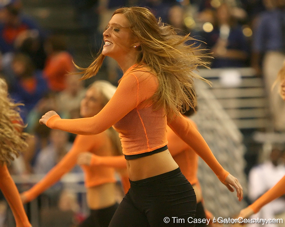 photo by Tim Casey<br /> <br /> The Dazzlers perform during the Gators' 80-65 win against the Arkansas Razorback on on Saturday, January 17, 2009 at the Stephen C. O'Connell Center in Gainesville, Fla.