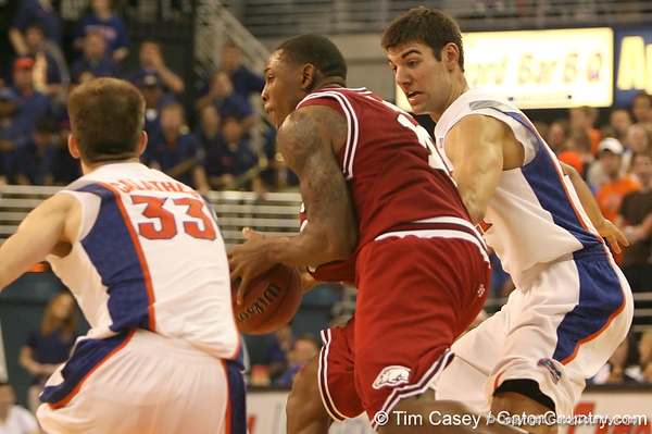 photo by Tim Casey<br /> <br /> Florida junior forward Dan Werner presses on defense during the Gators' 80-65 win against the Arkansas Razorback on on Saturday, January 17, 2009 at the Stephen C. O'Connell Center in Gainesville, Fla.