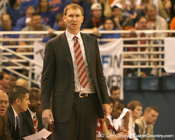 photo by Tim Casey<br /> <br /> Arkansas coach John Pelphrey watches from the bench during the Gators' 80-65 win against the Razorbacks on on Saturday, January 17, 2009 at the Stephen C. O'Connell Center in Gainesville, Fla.