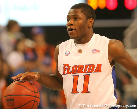 photo by Tim Casey<br /> <br /> Florida freshman guard Erving Walker brings the ball upcourt during first half of the Gators' 80-65 win against the Arkansas Razorback on Saturday, January 17, 2009 at the Stephen C. O'Connell Center in Gainesville, Fla.