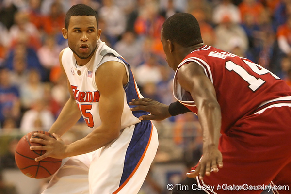 photo by Tim Casey<br /> <br /> Florida senior guard Walter Hodge looks to make a move during the Gators' 80-65 win against the Arkansas Razorback on on Saturday, January 17, 2009 at the Stephen C. O'Connell Center in Gainesville, Fla.