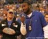 photo by Tim Casey<br /> <br /> Florida redshirt freshman running back Chris Rainey addresses the crowd during halftime of the Gators' 80-65 win against the Arkansas Razorback on on Saturday, January 17, 2009 at the Stephen C. O'Connell Center in Gainesville, Fla.