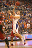 photo by Tim Casey<br /> <br /> Florida sophomore guard/forward Nick Calathes makes a running pass during first half of the Gators' 80-65 win against the Arkansas Razorbacks on Saturday, January 17, 2009 at the Stephen C. O'Connell Center in Gainesville, Fla.