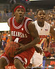 photo by Tim Casey<br /> <br /> Courtney Fortson dribbles past Florida freshman guard Erving Walker during first half of the Gators' 80-65 win against the Arkansas Razorbacks on Saturday, January 17, 2009 at the Stephen C. O'Connell Center in Gainesville, Fla.