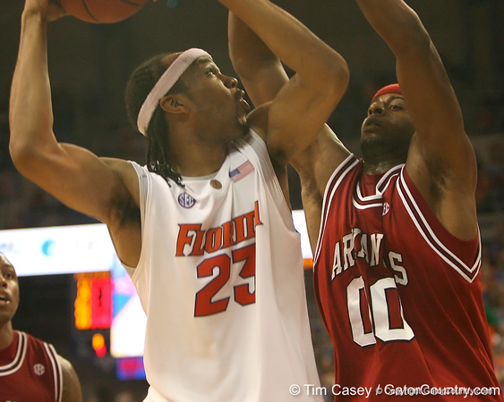 photo by Tim Casey<br /> <br /> Florida sophomore forward Alex Tyus begins to shoot during the Gators' 80-65 win against the Arkansas Razorbacks on Saturday, January 17, 2009 at the Stephen C. O'Connell Center in Gainesville, Fla.