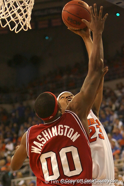 photo by Tim Casey<br /> <br /> Florida sophomore forward Alex Tyus puts up a layup during the Gators' 80-65 win against the Arkansas Razorback on on Saturday, January 17, 2009 at the Stephen C. O'Connell Center in Gainesville, Fla.