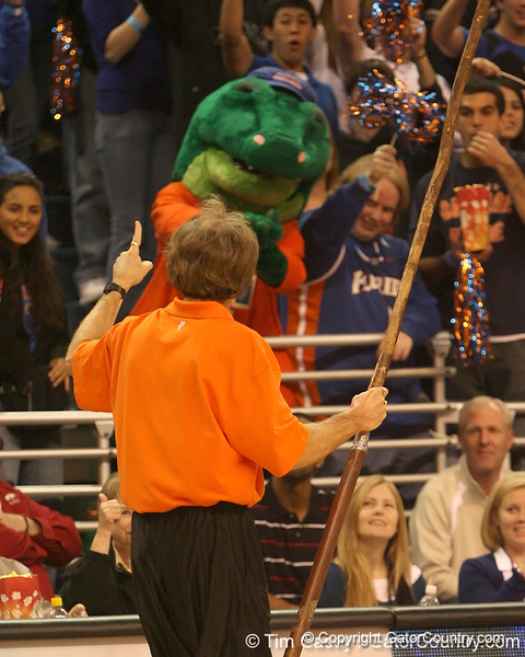photo by Tim Casey<br /> <br /> Stick Man performs during first half of the Gators' 80-65 win against the Arkansas Razorbacks on Saturday, January 17, 2009 at the Stephen C. O'Connell Center in Gainesville, Fla.
