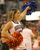 photo by Tim Casey<br /> <br /> A Florida cheerleader performs during the Gators' 80-65 win against the Arkansas Razorback on on Saturday, January 17, 2009 at the Stephen C. O'Connell Center in Gainesville, Fla.