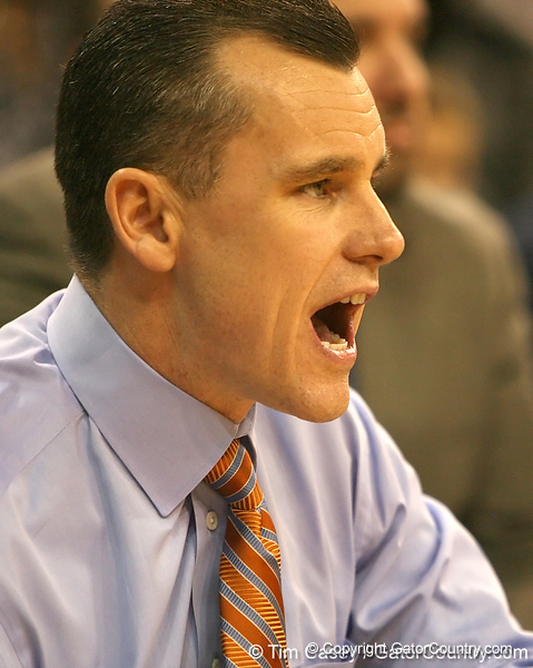 photo by Tim Casey<br /> <br /> Florida head coach Billy Donovan calls out instructions during the Gators' 80-65 win against the Arkansas Razorback on on Saturday, January 17, 2009 at the Stephen C. O'Connell Center in Gainesville, Fla.