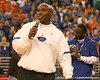 photo by Tim Casey<br /> <br /> Florida associate head coach/ defensive coordinator/ linebackers coach Charlie Strong speaks to fans during halftime of the Gators' 80-65 win against the Arkansas Razorback on on Saturday, January 17, 2009 at the Stephen C. O'Connell Center in Gainesville, Fla.