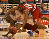 photo by Tim Casey<br /> <br /> Florida freshman forward/center Kenny Kadji dives for a loose ball during first half of the Gators' 80-65 win against the Arkansas Razorback on Saturday, January 17, 2009 at the Stephen C. O'Connell Center in Gainesville, Fla.