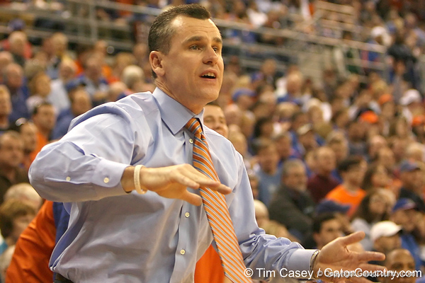 photo by Tim Casey<br /> <br /> Florida head coach Billy Donovan motions to his team during the Gators' 80-65 win against the Arkansas Razorback on on Saturday, January 17, 2009 at the Stephen C. O'Connell Center in Gainesville, Fla.