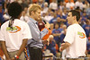 photo by Tim Casey<br /> <br /> Alltel spokesman Chad talks with a game contestant during the Gators' 80-65 win against the Arkansas Razorback on on Saturday, January 17, 2009 at the Stephen C. O'Connell Center in Gainesville, Fla.