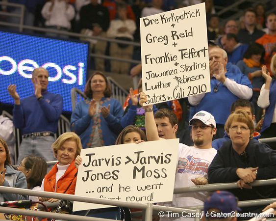 photo by Tim Casey<br /> <br /> Florida fans make their case to football recruits during the Gators' 80-65 win against the Arkansas Razorback on on Saturday, January 17, 2009 at the Stephen C. O'Connell Center in Gainesville, Fla.