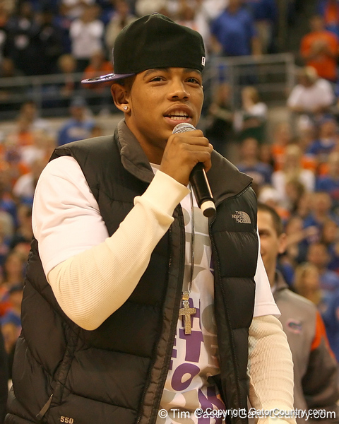 photo by Tim Casey<br /> <br /> Florida sophomore defensive back Joe Haden addresses the crowd during halftime of the Gators' 80-65 win against the Arkansas Razorback on on Saturday, January 17, 2009 at the Stephen C. O'Connell Center in Gainesville, Fla.
