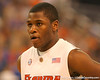 photo by Tim Casey<br /> <br /> Florida freshman guard Erving Walker eyes an opposing player during first half of the Gators' 80-65 win against the Arkansas Razorback on Saturday, January 17, 2009 at the Stephen C. O'Connell Center in Gainesville, Fla.