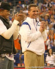 photo by Tim Casey<br /> <br /> Florida sophomore defensive back Joe Haden and head coach Urban Meyer laugh during halftime of the Gators' 80-65 win against the Arkansas Razorback on on Saturday, January 17, 2009 at the Stephen C. O'Connell Center in Gainesville, Fla.