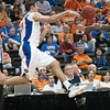 Photo by Tim Darby <br /> <br /> Dan Werner saves a ball from going out of bound at the University of Florida vs. University of Central Florida Basketball game at the Veterans Memorial Arena in Jacksonville, FL on December 20, 2008.