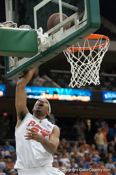 Photo by Tim Darby <br /> <br /> Alex Tyus shoots a layup at the University of Florida vs. University of Central Florida Basketball game at the Veterans Memorial Arena in Jacksonville, FL on December 20, 2008.