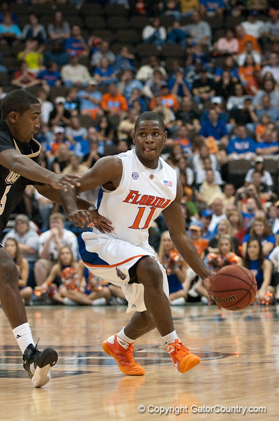 Photo by Tim Darby<br /> <br /> Erving Walker looks to pass at the University of Florida vs. University of Central Florida Basketball game at the Veterans Memorial Arena in Jacksonville, FL on December 20, 2008.
