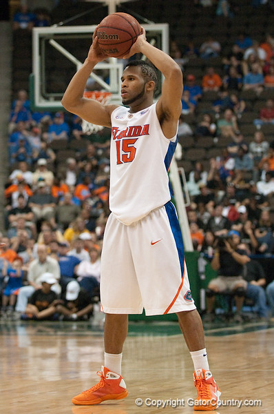 Photo by Tim Darby <br /> <br /> Walter Hodge looks to pass at the University of Florida vs. University of Central Florida Basketball game at the Veterans Memorial Arena in Jacksonville, FL on December 20, 2008.