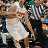 Photo by Tim Darby <br /> <br /> Dan Werner dribbles to the baseline at the University of Florida vs. University of Central Florida Basketball game at the Veterans Memorial Arena in Jacksonville, FL on December 20, 2008.
