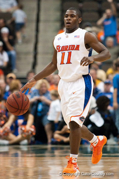 Photo by Tim Darby <br /> <br /> Erving Walker brings the ball upcourt at the University of Florida vs. University of Central Florida Basketball game at the Veterans Memorial Arena in Jacksonville, FL on December 20, 2008.