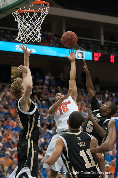 Photo by Tim Darby <br /> <br /> Walter Hodge puts up a shot at the University of Florida vs. University of Central Florida Basketball game at the Veterans Memorial Arena in Jacksonville, FL on December 20, 2008.