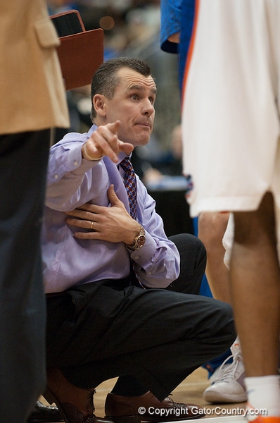 Photo by Tim Darby <br /> <br /> Billy Donovan gives instructions during a huddle at the University of Florida vs. University of Central Florida Basketball game at the Veterans Memorial Arena in Jacksonville, FL on December 20, 2008.