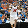 Photo by Tim Darby <br /> <br /> Alex Tyus drives to the basket at the University of Florida vs. University of Central Florida Basketball game at the Veterans Memorial Arena in Jacksonville, FL on December 20, 2008.