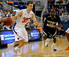 photo by Casey Brooke Lawson<br /> <br /> Florida sophomore guard/forward Nick Calathes moves the ball toward the hoop in the gators game against Georgia Southern. The Gators beat the Eagles 88 to 81 at the O'Connell Center in Gainesville, Fla. on December 22, 2008.