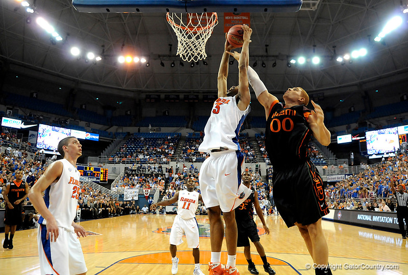 UF forward Alex Tyus grabs a rebound during the first half of the Florida Gators' game against the Miami Hurricanes on Friday, March 20, 2009 in Gainesville, Fla. / Gator Country photo by Casey Brooke Lawson