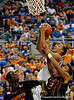 UF forward Kenny Kadji scores during the first half of the Florida Gators' game against the Miami Hurricanes on Friday, March 20, 2009 in Gainesville, Fla. / Gator Country photo by Casey Brooke Lawson