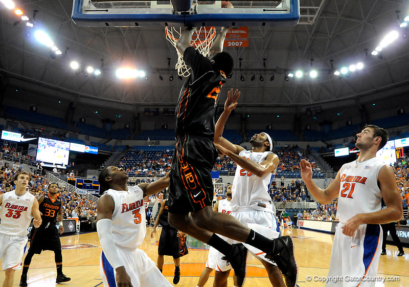 Miami forward Dwayne Collins scores during the first half of the Florida Gators' game against the Miami Hurricanes on Friday, March 20, 2009 in Gainesville, Fla. / Gator Country photo by Casey Brooke Lawson