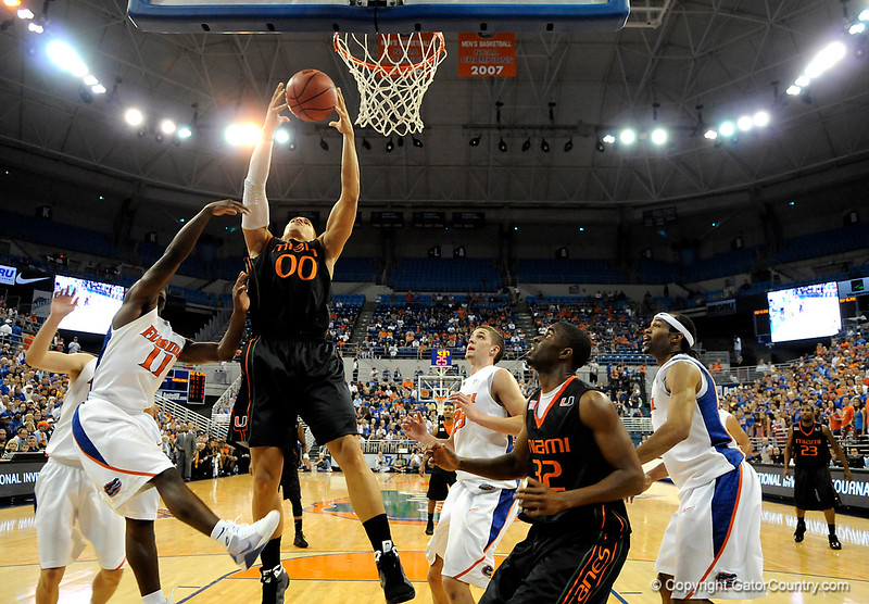 Miami forward Jimmy Graham scores during the first half of the Florida Gators' game against the Miami Hurricanes on Friday, March 20, 2009 in Gainesville, Fla. / Gator Country photo by Casey Brooke Lawson