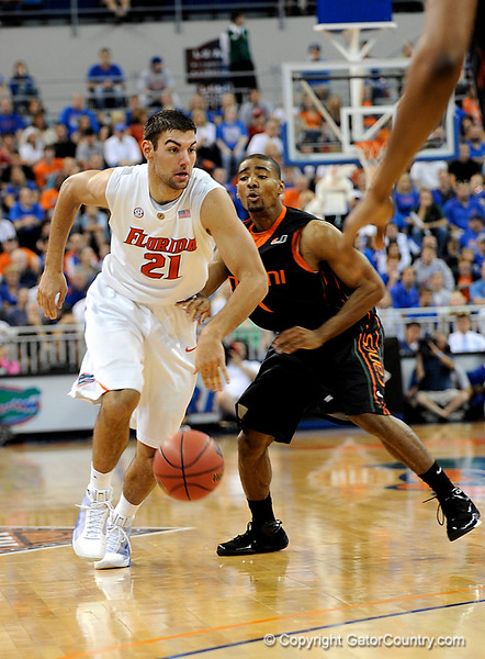UF forward Dan Werner moves the ball downcourt during the second half of the Florida Gators' game against the Miami Hurricanes on Friday, March 20, 2009 in Gainesville, Fla. / Gator Country photo by Casey Brooke Lawson