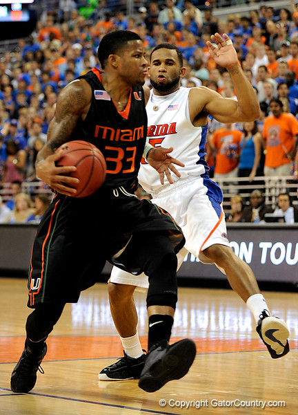 UF guard Walter Hodge guards a Miami player during the first half of the Florida Gators' game against the Miami Hurricanes on Friday, March 20, 2009 in Gainesville, Fla. / Gator Country photo by Casey Brooke Lawson