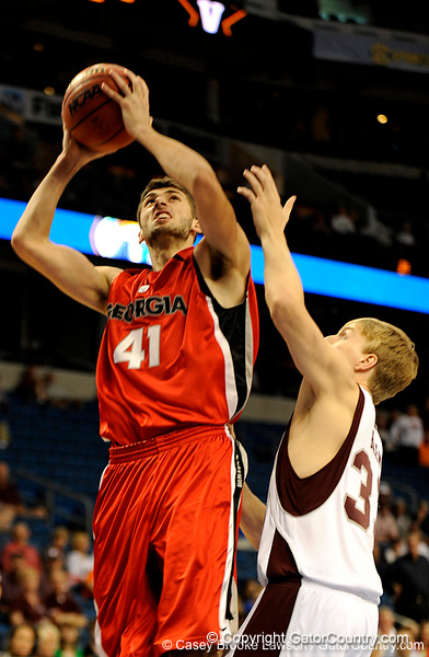 Georgia forward Drazen Zlovaric prepares to score during the Mississippi Bulldogs 79-60 victory over the University of Georgia Bulldogs on Thursday, March 12, 2009 in the St. Pete Times Forum. / Gator Country photo by Casey Brooke Lawson