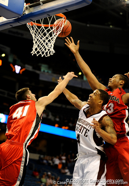 Georgia forward Drazen Zlovaric blocks Mississippi State guard Twany beckham during the Mississippi Bulldogs 79-60 victory over the University of Georgia Bulldogs on Thursday, March 12, 2009 in the St. Pete Times Forum. / Gator Country photo by Casey Brooke Lawson