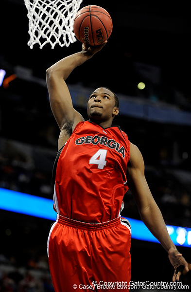 Georgia forward Chris Barnes scores during the Mississippi Bulldogs 79-60 victory over the University of Georgia Bulldogs on Thursday, March 12, 2009 in the St. Pete Times Forum. / Gator Country photo by Casey Brooke Lawson