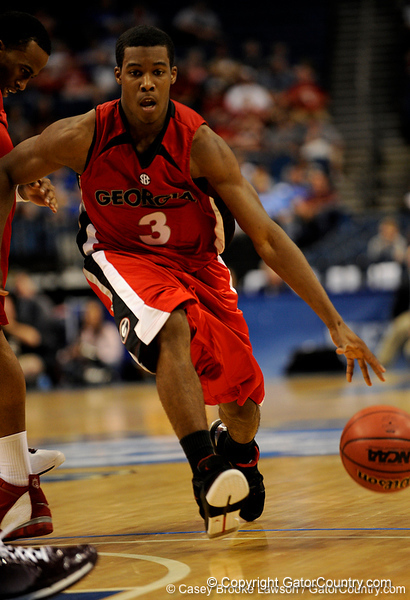Georgia guard Dustin Ware moves the ball during the Mississippi Bulldogs 79-60 victory over the University of Georgia Bulldogs on Thursday, March 12, 2009 in the St. Pete Times Forum. / Gator Country photo by Casey Brooke Lawson