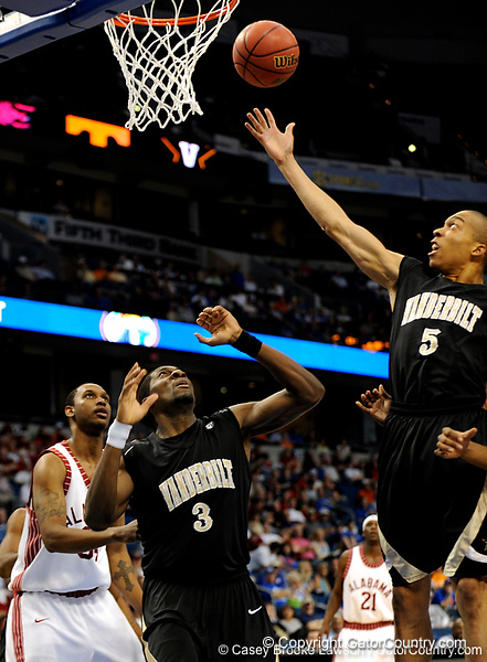 Vanderbilt guard Lance Goulbourne attempts to grab a rebound during the Alabama Crimson Tide 82-75 victory over the Vanderbilt Commodores on Thursday, March 12, 2009 in the St. Pete Times Forum. / Gator Country photo by Casey Brooke Lawson